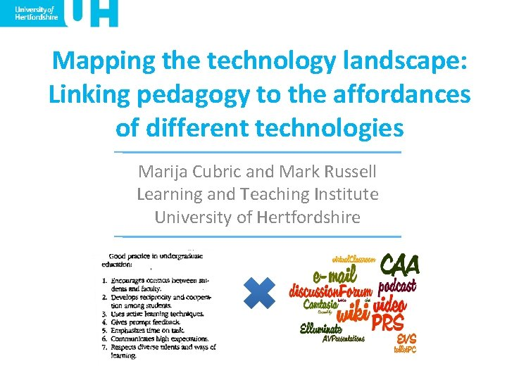 Mapping the technology landscape: Linking pedagogy to the affordances of different technologies Marija Cubric