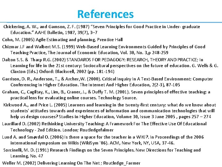 """References Chickering, A. W. , and Gamson, Z. F. (1987) """"Seven Principles for Good"""