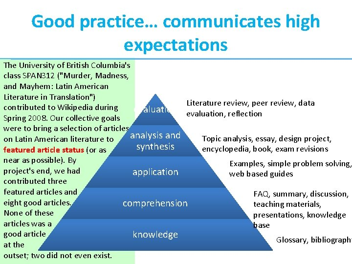 """Good practice… communicates high expectations The University of British Columbia's class SPAN 312 (""""Murder,"""