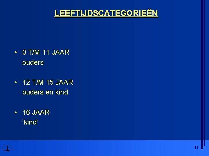 LEEFTIJDSCATEGORIEËN • 0 T/M 11 JAAR ouders • 12 T/M 15 JAAR ouders en