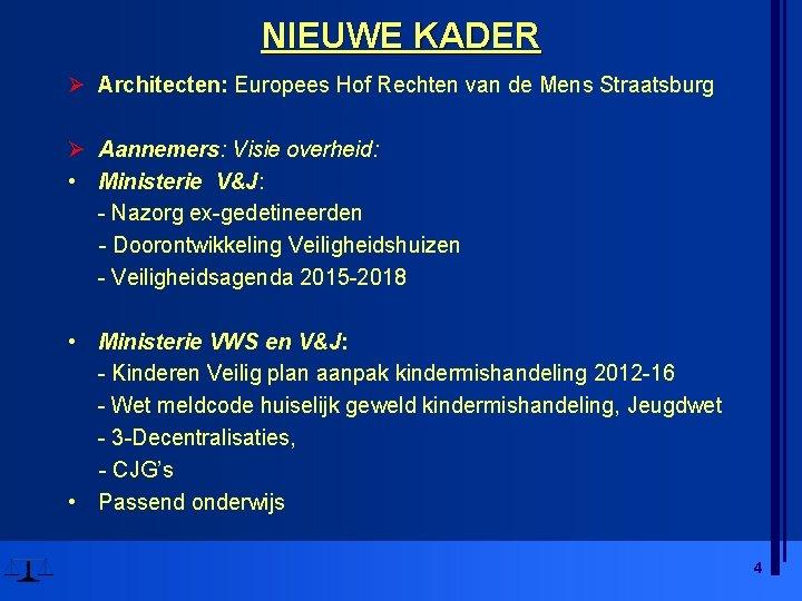 NIEUWE KADER Ø Architecten: Europees Hof Rechten van de Mens Straatsburg Ø Aannemers: Visie