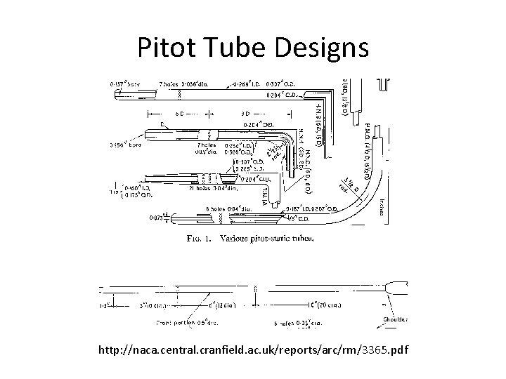 Pitot Tube Designs http: //naca. central. cranfield. ac. uk/reports/arc/rm/3365. pdf