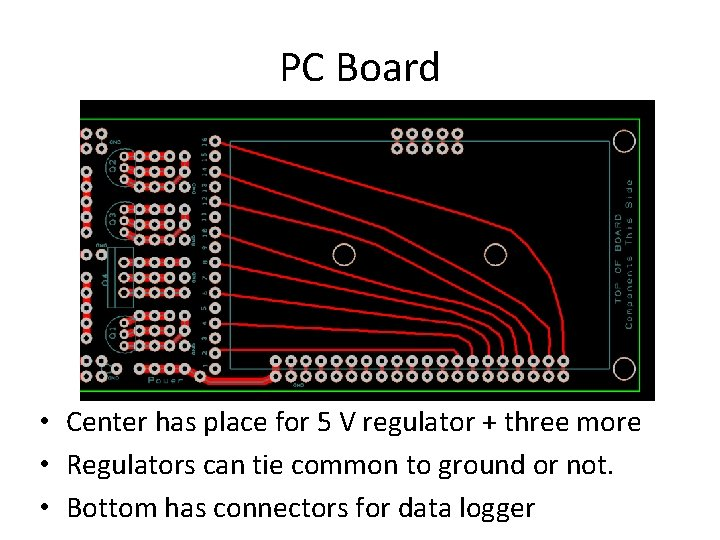 PC Board • Center has place for 5 V regulator + three more •