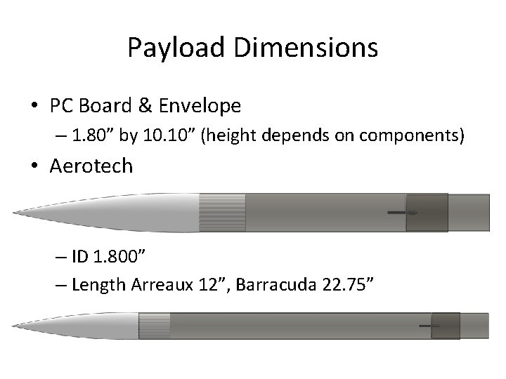 """Payload Dimensions • PC Board & Envelope – 1. 80"""" by 10. 10"""" (height"""