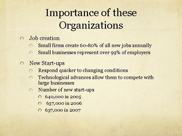 Importance of these Organizations Job creation Small firms create 60 -80% of all new