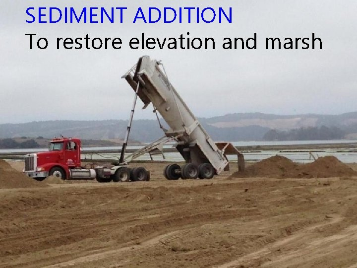 SEDIMENT ADDITION To restore elevation and marsh