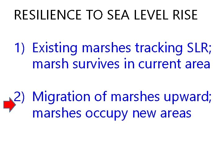 RESILIENCE TO SEA LEVEL RISE 1) Existing marshes tracking SLR; marsh survives in current