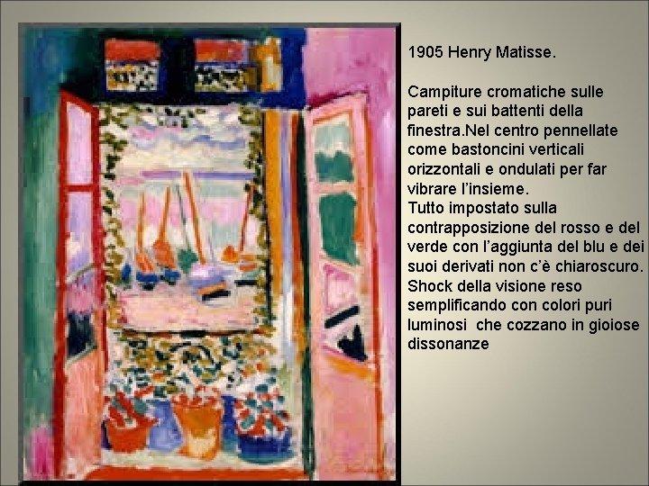 1905 Henry Matisse. Campiture cromatiche sulle pareti e sui battenti della finestra. Nel centro