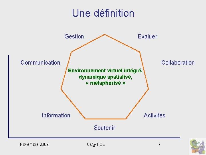 Une définition Evaluer Gestion Communication Collaboration Environnement virtuel intégré, dynamique spatialisé, « métaphorisé »