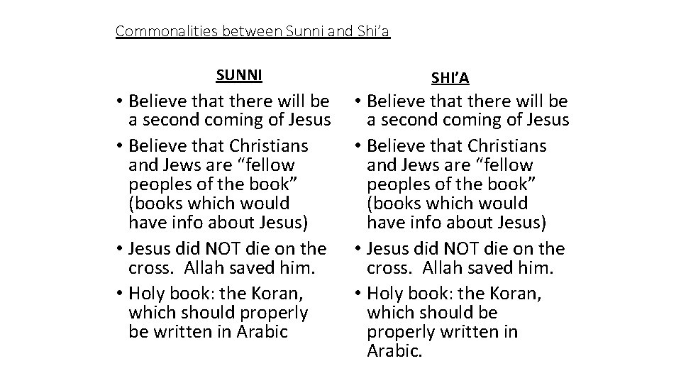 Commonalities between Sunni and Shi'a SUNNI • Believe that there will be a second