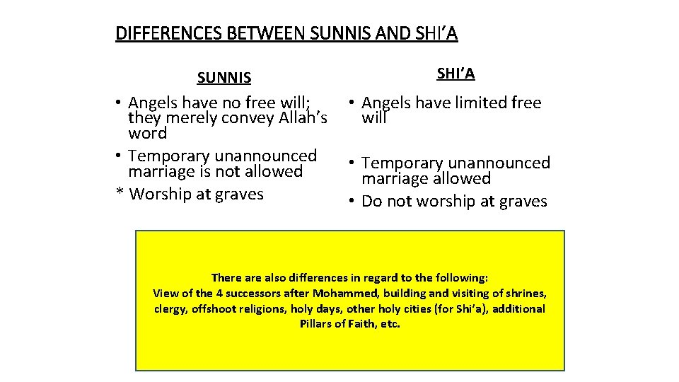 DIFFERENCES BETWEEN SUNNIS AND SHI'A SUNNIS • Angels have no free will; they merely