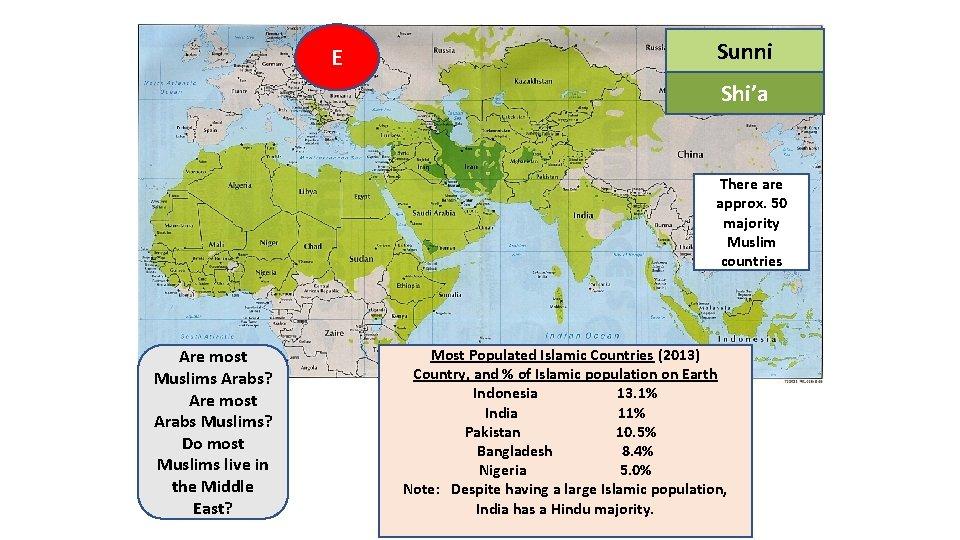 E Sunni SUNI Shi'a There approx. 50 majority Muslim countries Are most Muslims Arabs?