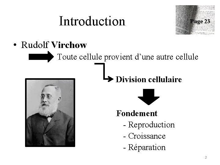 Introduction Page 23 • Rudolf Virchow Toute cellule provient d'une autre cellule Division cellulaire