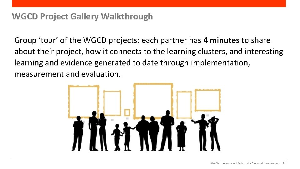 WGCD Project Gallery Walkthrough Group 'tour' of the WGCD projects: each partner has 4