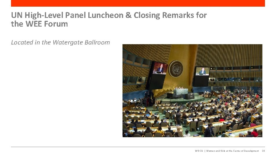 UN High-Level Panel Luncheon & Closing Remarks for the WEE Forum Located in the