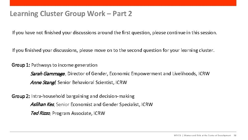 Learning Cluster Group Work – Part 2 If you have not finished your discussions