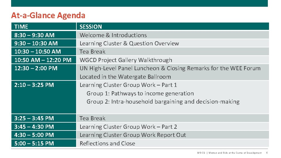 At-a-Glance Agenda TIME 8: 30 – 9: 30 AM 9: 30 – 10: 30