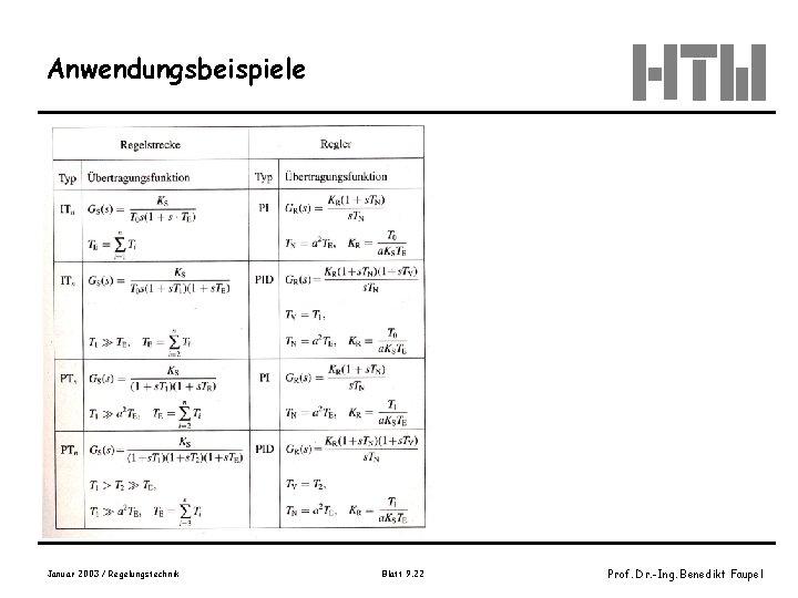 Anwendungsbeispiele Tabelle 10. 5 -2, Wendt, S. 433 Januar 2003 / Regelungstechnik Blatt 9.