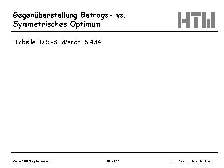 Gegenüberstellung Betrags- vs. Symmetrisches Optimum Tabelle 10. 5. -3, Wendt, S. 434 Januar 2003