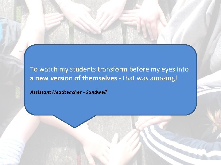 To watch my students transform before my eyes into a new version of themselves