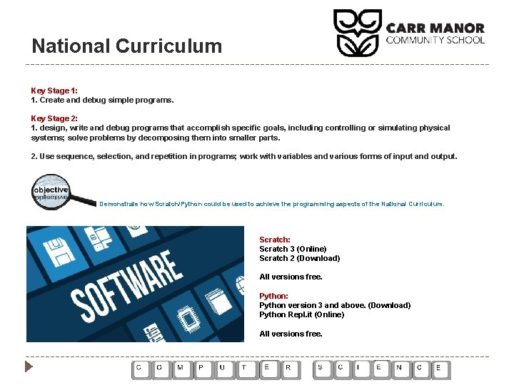 National Curriculum Key Stage 1: 1. Create and debug simple programs. Key Stage 2: