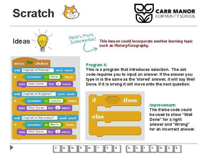 Scratch Ideas This lesson could incorporate another learning topic such as History/Geography. Program 4: