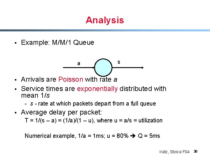 Analysis § Example: M/M/1 Queue a § § s Arrivals are Poisson with rate