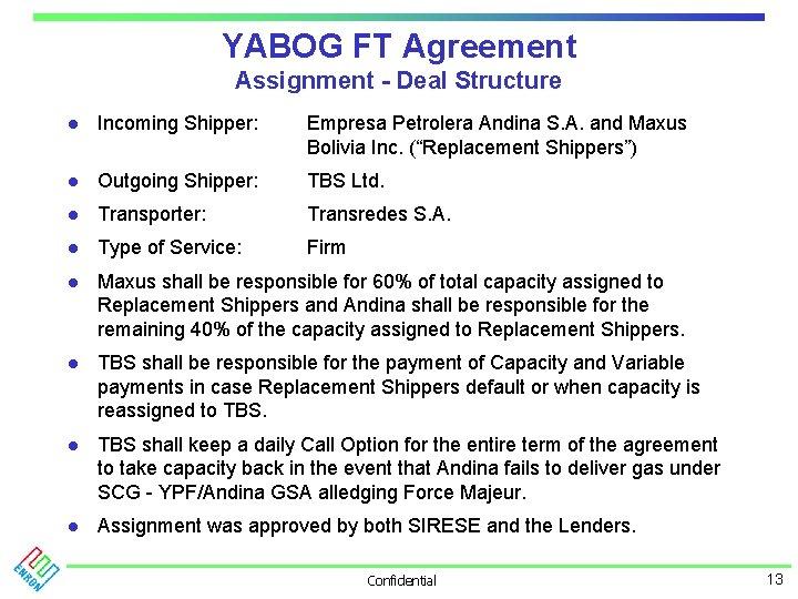 YABOG FT Agreement Assignment - Deal Structure l Incoming Shipper: Empresa Petrolera Andina S.