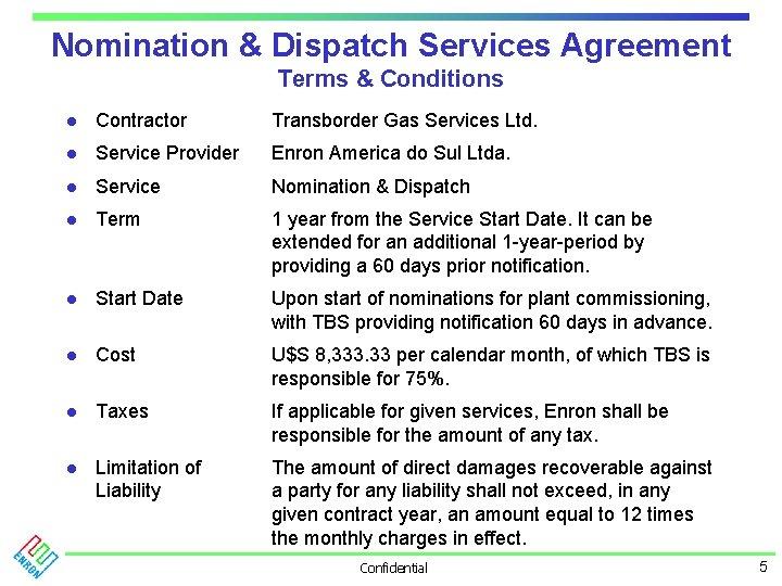 Nomination & Dispatch Services Agreement Terms & Conditions l Contractor Transborder Gas Services Ltd.
