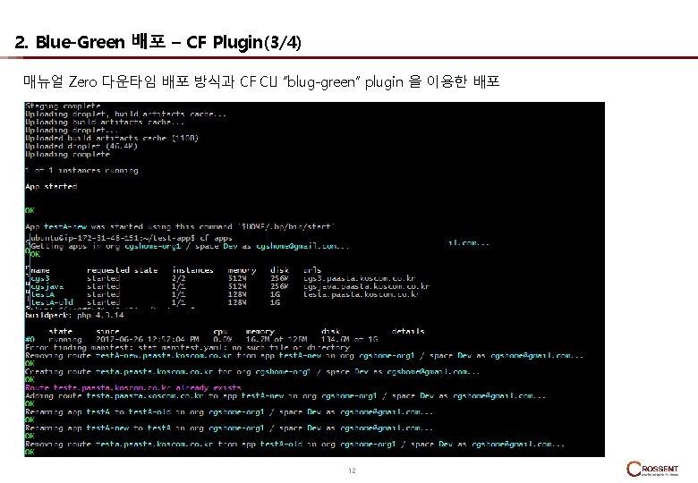 "2. Blue-Green 배포 – CF Plugin(3/4) 매뉴얼 Zero 다운타임 배포 방식과 CF CLI ""blug-green"""