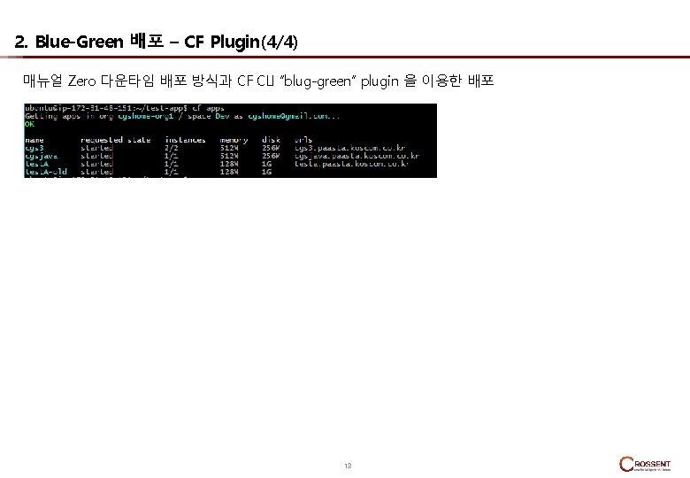 "2. Blue-Green 배포 – CF Plugin(4/4) 매뉴얼 Zero 다운타임 배포 방식과 CF CLI ""blug-green"""