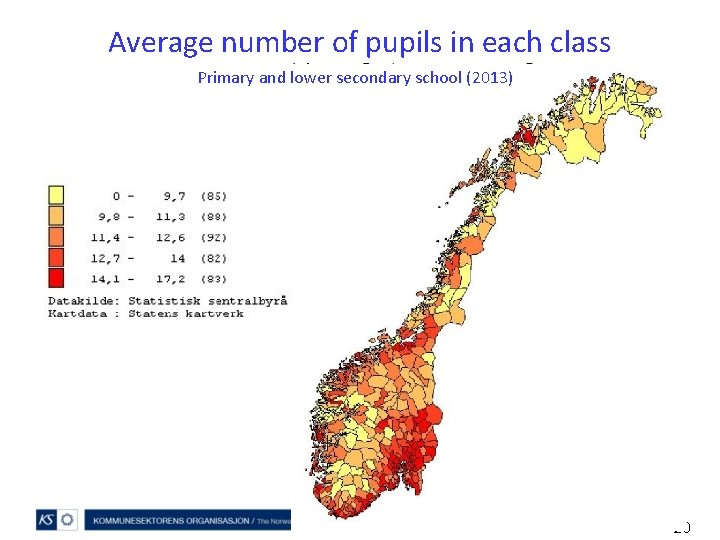 Average number of pupils in each class Primary and lower secondary school (2013) 20