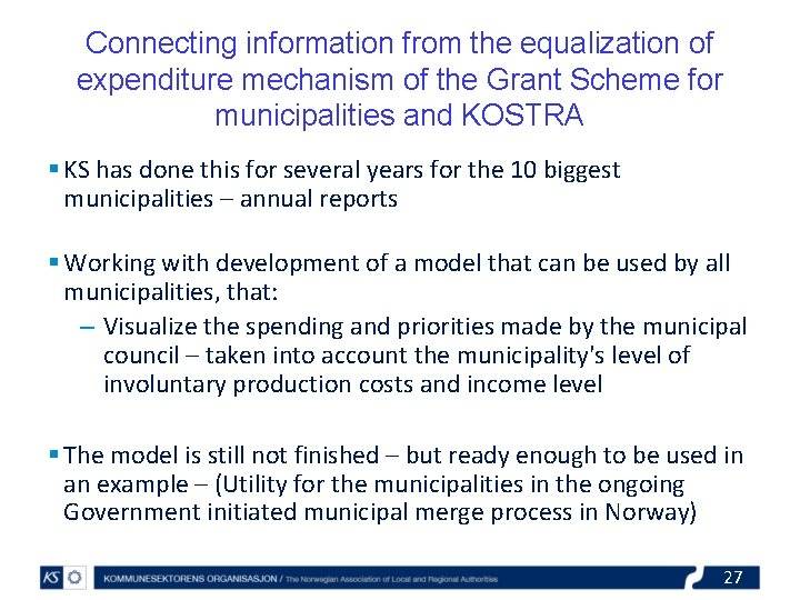 Connecting information from the equalization of expenditure mechanism of the Grant Scheme for municipalities
