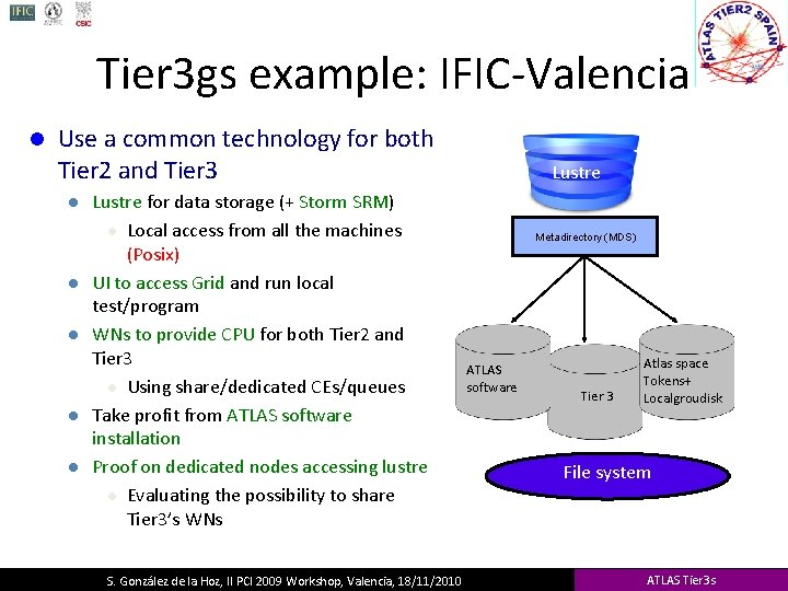 Tier 3 gs example: IFIC-Valencia l Use a common technology for both Tier 2
