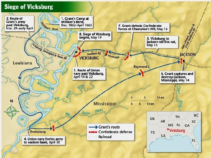 • Grant captures Vicksburg, splits the CSA in half. • USA controls the