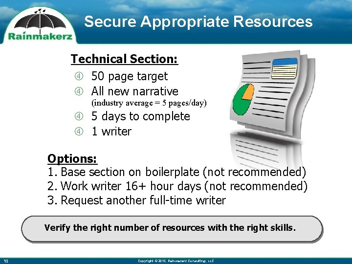 Secure Appropriate Resources Technical Section: 50 page target All new narrative (industry average =