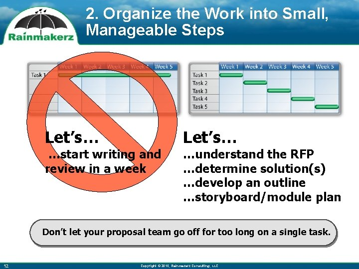 2. Organize the Work into Small, Manageable Steps Let's… …start writing and review in