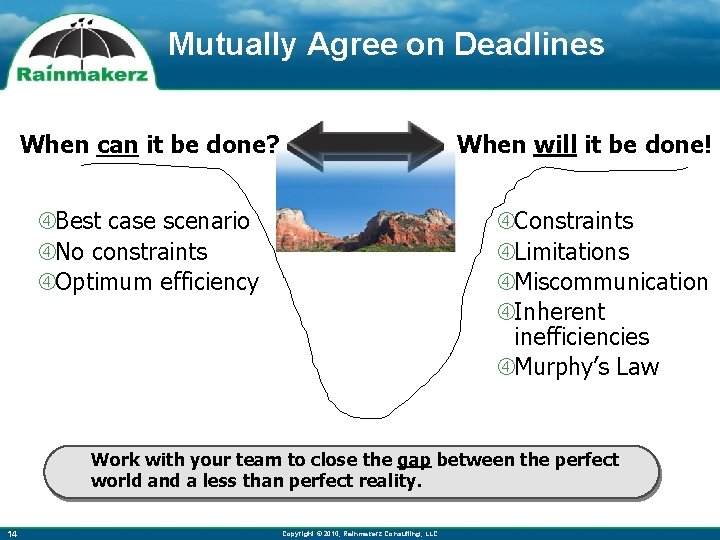 Mutually Agree on Deadlines When will it be done! When can it be done?