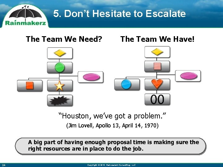 """5. Don't Hesitate to Escalate The Team We Need? The Team We Have! """"Houston,"""