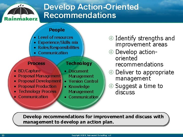 Develop Action-Oriented Recommendations People • • Level of resources Experience/Skills mix Roles/Responsibilities Communication Process