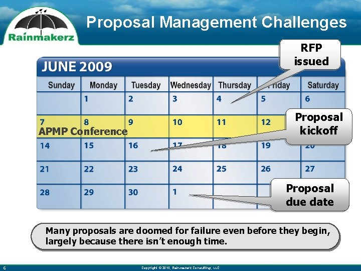 Proposal Management Challenges RFP issued Proposal kickoff APMP Conference Proposal due date Many proposals