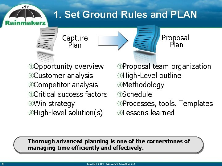1. Set Ground Rules and PLAN Proposal Plan Capture Plan Opportunity overview Customer analysis