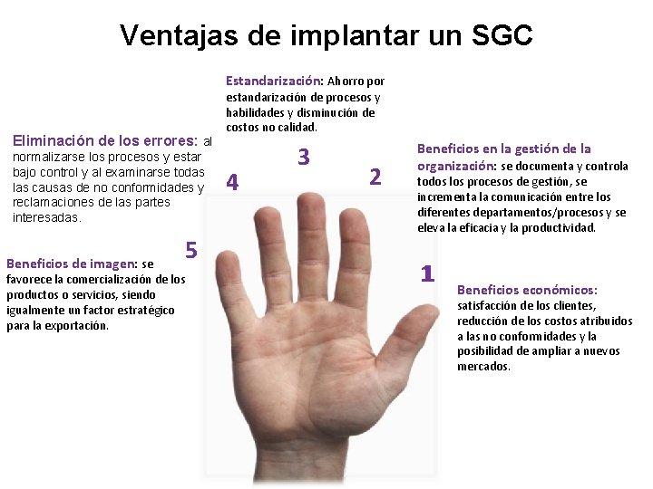 Ventajas de implantar un SGC Estandarización: Ahorro por Eliminación de los errores: al normalizarse