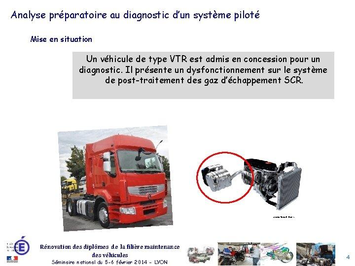 Analyse préparatoire au diagnostic d'un système piloté Mise en situation Un véhicule de type