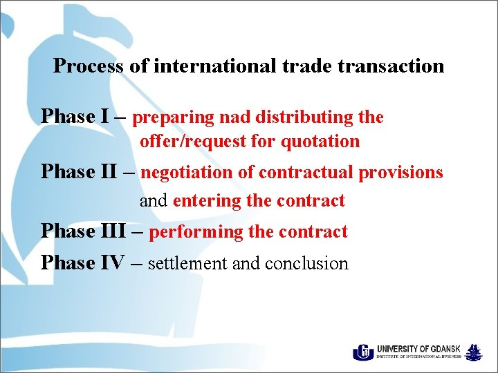 Process of international trade transaction Phase I – preparing nad distributing the offer/request for