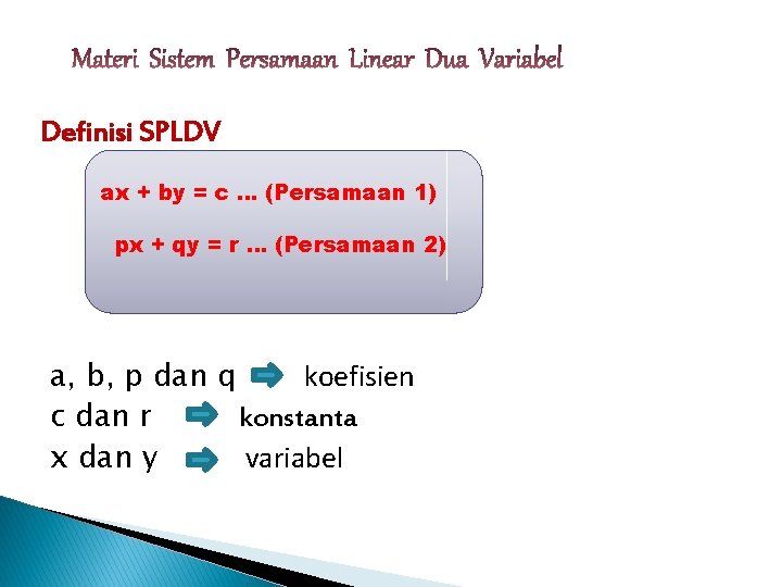 Definisi SPLDV ax + by = c … (Persamaan 1) px + qy =