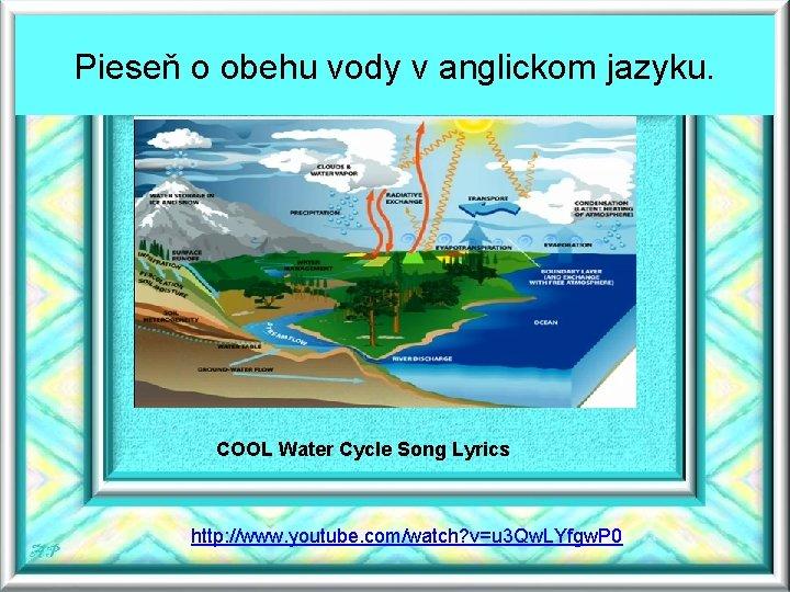 Pieseň o obehu vody v anglickom jazyku. COOL Water Cycle Song Lyrics http: //www.