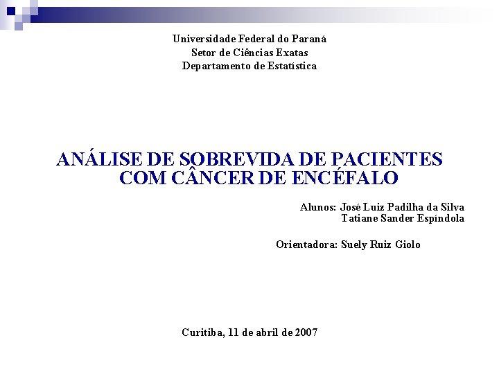 Universidade Federal do Paraná Setor de Ciências Exatas Departamento de Estatística ANÁLISE DE SOBREVIDA