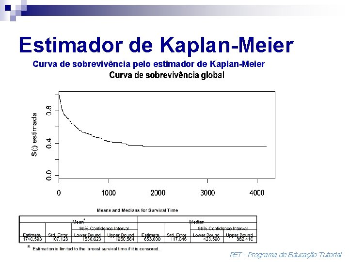 Estimador de Kaplan-Meier Curva de sobrevivência pelo estimador de Kaplan-Meier PET - Programa de