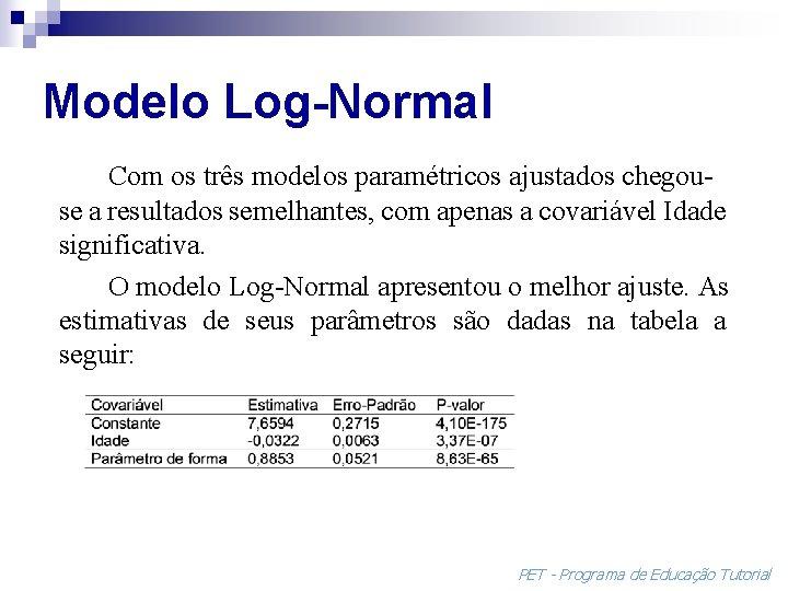 Modelo Log-Normal Com os três modelos paramétricos ajustados chegouse a resultados semelhantes, com apenas